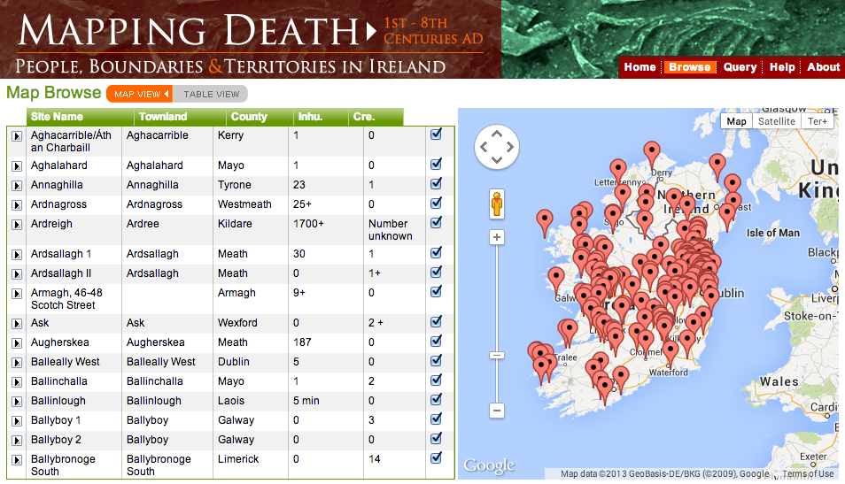 Screenshot from Mapping Death of the Browse- Map View Screen